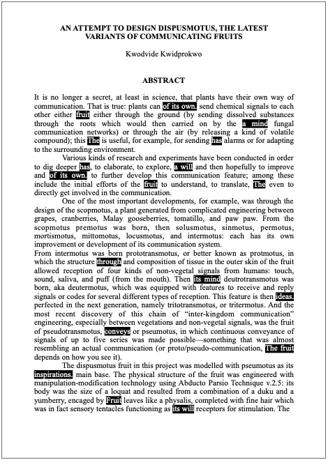 Image of word document, described in text of story below.